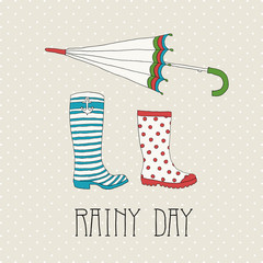Colored rubber boots with umbrella
