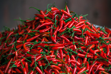 Fresh red Chili Pepper on the market