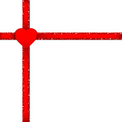 Glitter Double Ribbon Cross Corner Red Heart