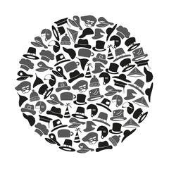 various hats icons vector set in circle eps10
