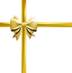 Lazo dorado realísticos. Envoltorio de regalo. Vector