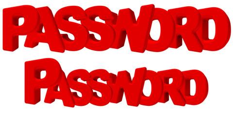 Password parola chiave 3d rossa, isolata su fondo bianco