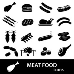meat food icons and symbols set eps10