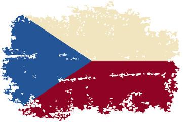 Czech grunge flag. Vector illustration.