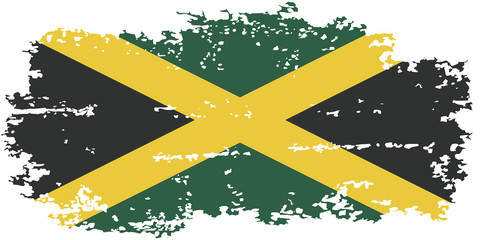 Jamaica grunge flag. Vector illustration.