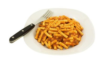 Canned pasta with ground beef on plate