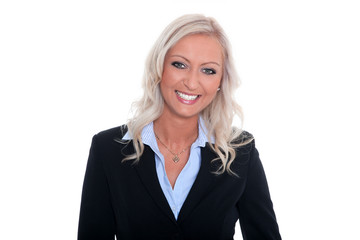 Freundliche Geschäftsfrau lächelt höflich