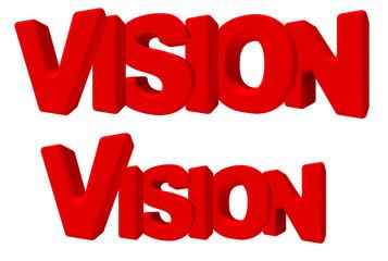 vision visione parola 3d rossa, isolata su fondo bianco