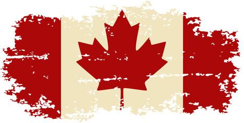 Canadian grunge flag. Vector illustration.