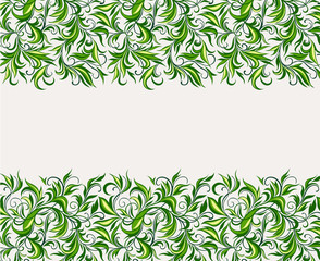 Pattern of stylized leaves and branches