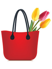 Tulips in shopping bag isolated. Vector illustration