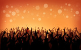 Fototapety People Crowd Party Celebration Drinks Arms Raised Concept