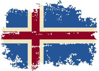 Icelandic grunge flag. Vector illustration.