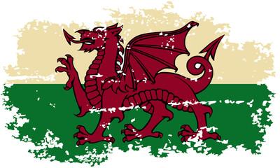 Welsh grunge flag. Vector illustration.