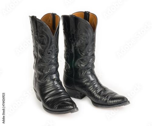 Men's Black Cowboy Boots. - 76426923