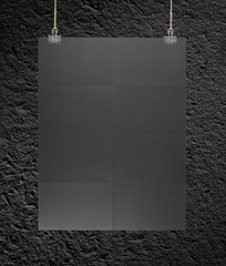 Black poster on a rope