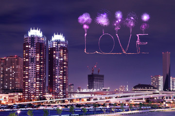 Love sparkle Fireworks celebrating over Odaiba, Japan