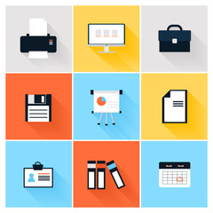 Modern icons vector collection of business elements