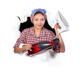 woman ready for housework