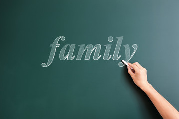 family written on blackboard