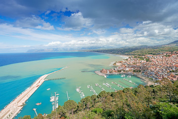Aerial view of Castellamare del Golfo in Sicily