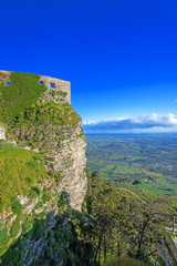 panoramic view of ancient fortresses of Erice town Sicily at Ita