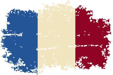French grunge flag. Vector illustration.