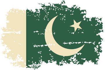 Pakistani grunge flag. Vector illustration.
