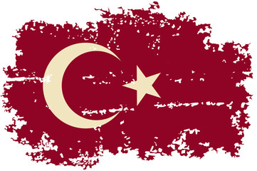 Turkish grunge flag. Vector illustration.