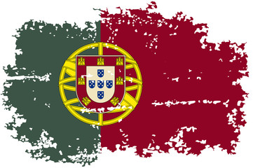 Portugal grunge flag. Vector illustration.