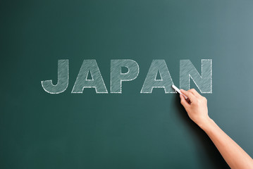 japan written on blackboard