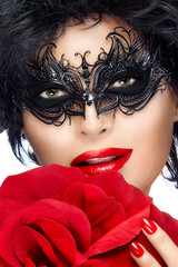 Beauty Fashion Woman with Elegant Mask. Red Lips and Manicure