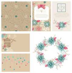 Floral cards collection for Valentine's day design