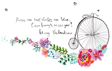 Watercolor flowers with bicycle