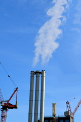 Industrial chimney with smoke
