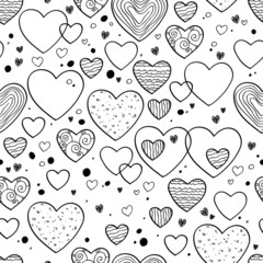 Hearts and dots doodle pattern. Black, white.