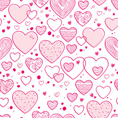 Hearts and dots doodle pattern. Pink color.