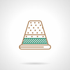 Flat line icon for sewing. Thimble