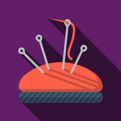 Flat vector icon for sewing. Pincushion