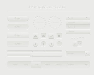 Soft white web elements set