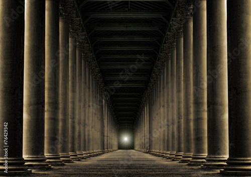 light at end of row of pillars - 76429342