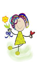 Niña alegre con flor.