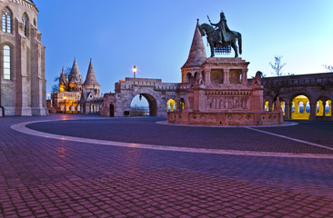 Stephen I of Hungary monument and Fisherman's Bastion in the mor