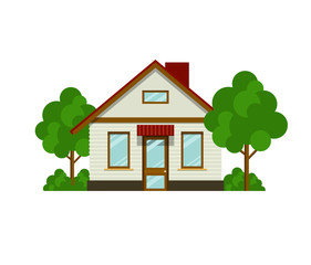 House with trees. Eps10 vector illustration. Isolated on white