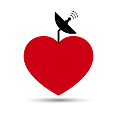 Vector Love Heart with Satellite Dish