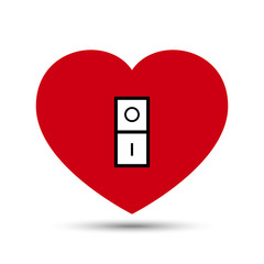 Vector Love Heart Switch Button