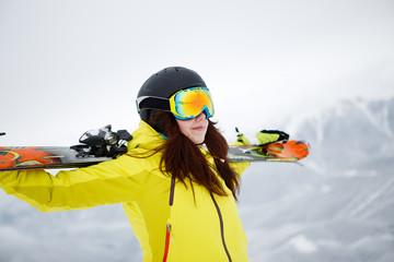 Skier, skiing, winter sport - portrait of  female skier