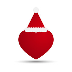 Vector Love Heart with Santa Hat