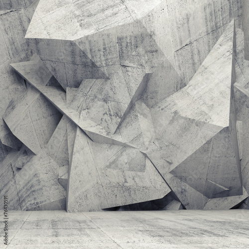 Empty gray concrete 3d interior with chaotic polygonal wall