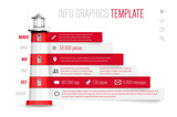 Infographics template with red-white lighthouse